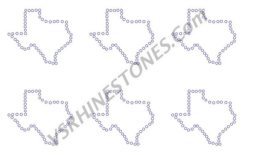 Texas Outline Mini Rhinestone Transfers (6)